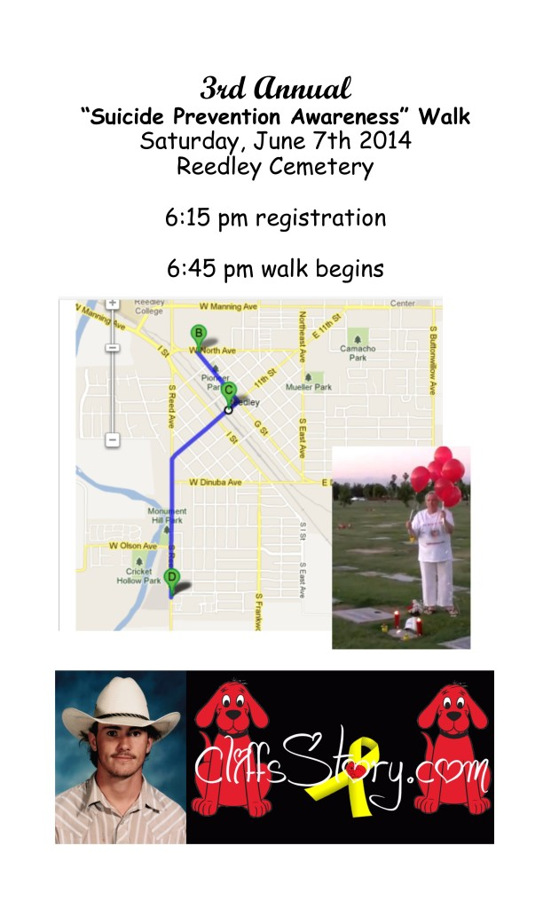 2014 suicide prevention walk - reedley flier legal